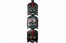 Wooden three face decoration