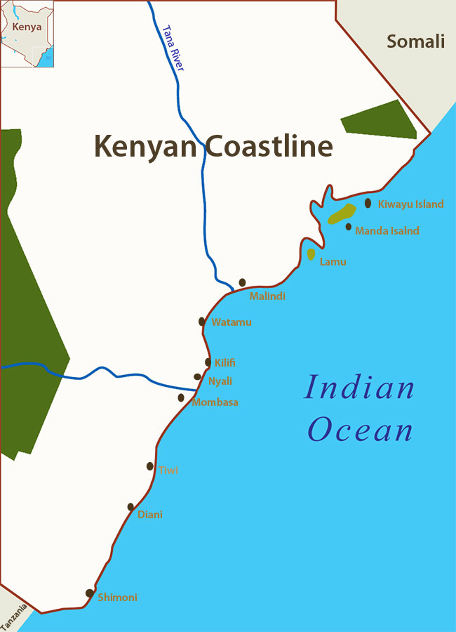 Beach map Kenya