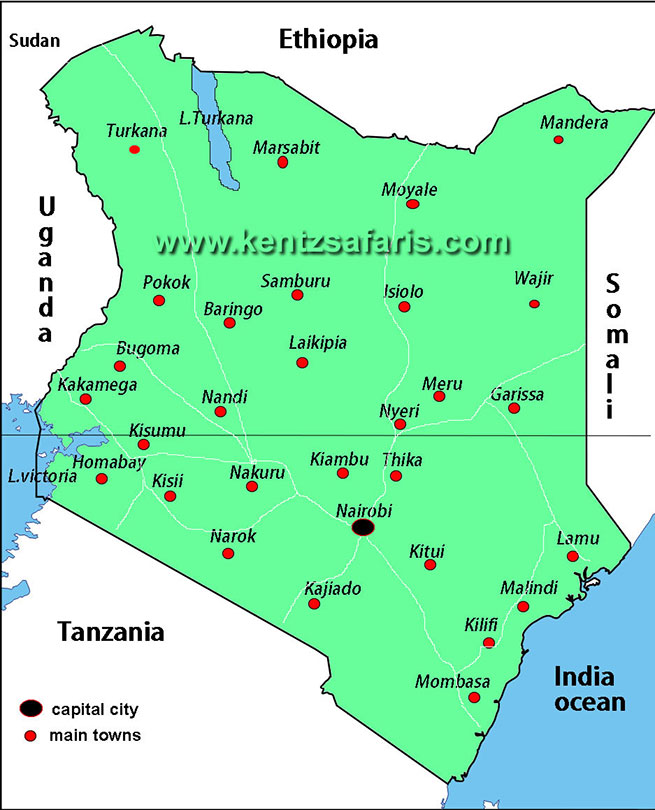 map of kenyan towns and cities