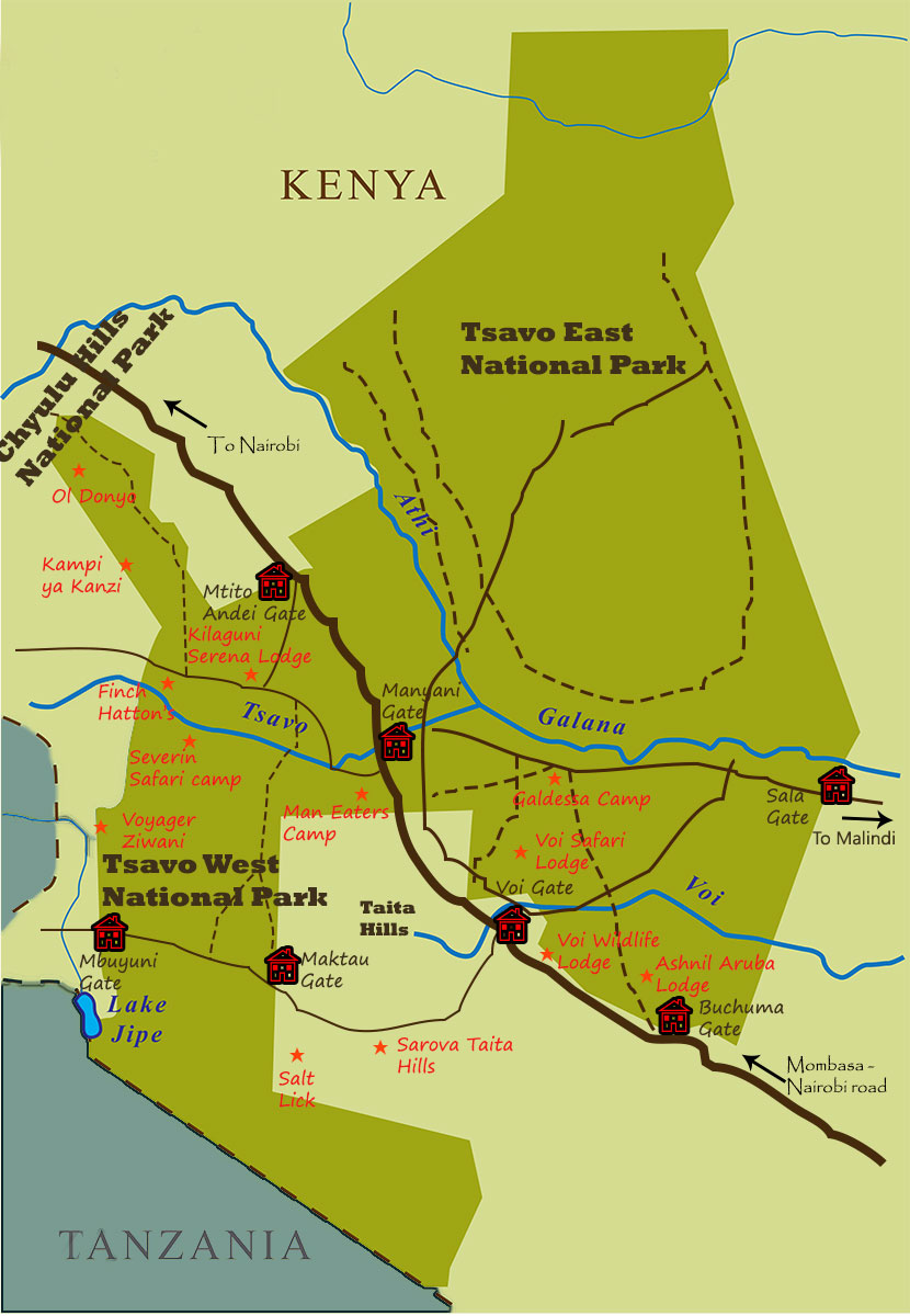 Map of Tsavo National Park and Direction